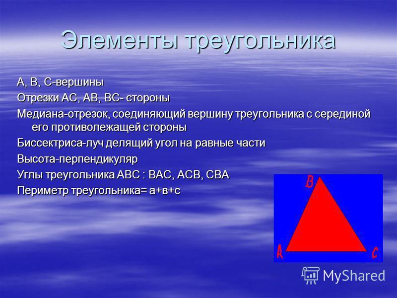 Элементы треугольника А, В, С-вершины Отрезки АС, АВ, ВС- стороны Медиана-отрезок, соединяющий вершину треугольника с серединой его противолежащей стороны Биссектриса-луч делящий угол на равные части Высота-перпендикуляр Углы треугольника АВС : ВАС,