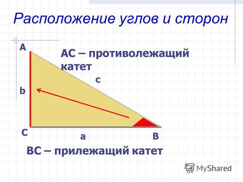 Расположение углов и сторон А С В b c a АС – противолежащий катет ВС – прилежащий катет