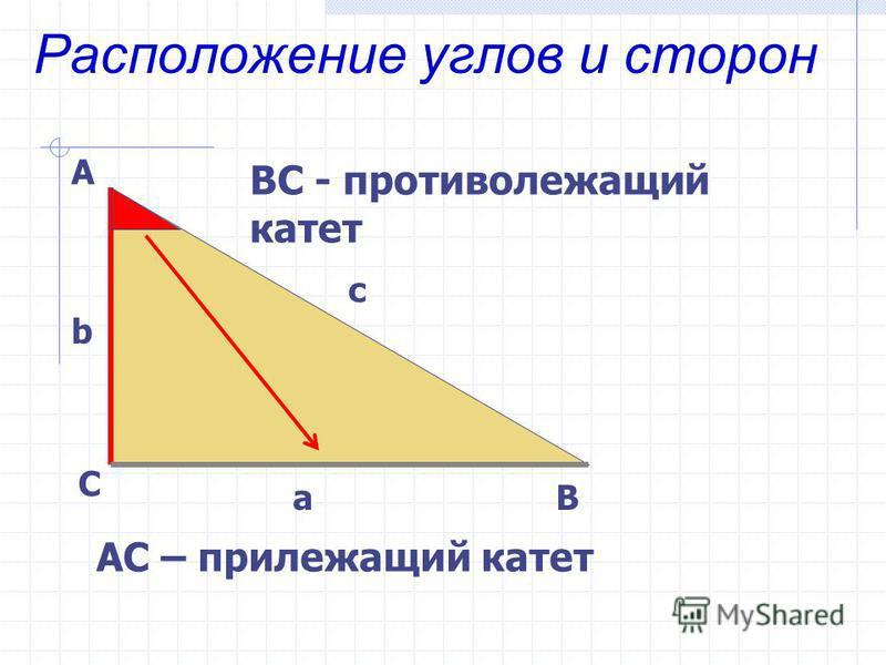 Расположение углов и сторон А С В b c a ВС - противолежащий катет АС – прилежащий катет