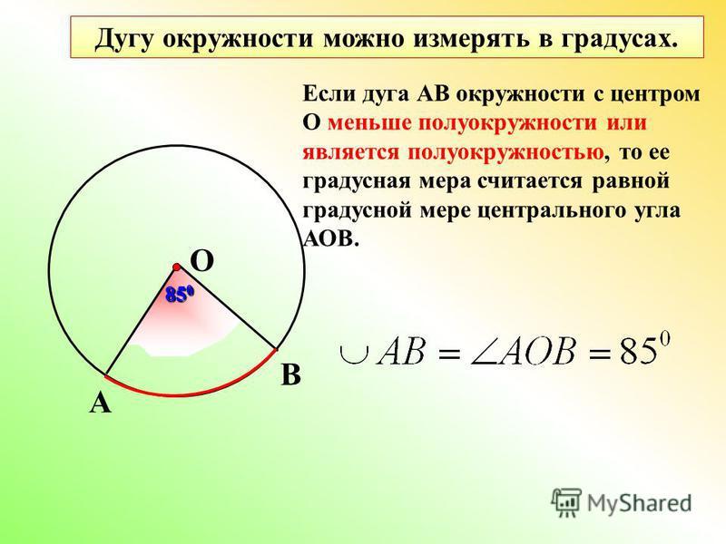 А В О Дугу окружности можно измерять в градусах. Если дуга АВ окружности с центром О меньше полуокружности или является полуокружностью, то ее градусная мера считается равной градусной мере центрального угла АОВ. 85 0
