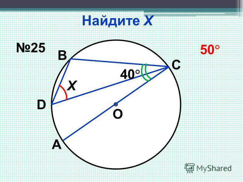 Найдите Х Х О 40 А D В С 25 50