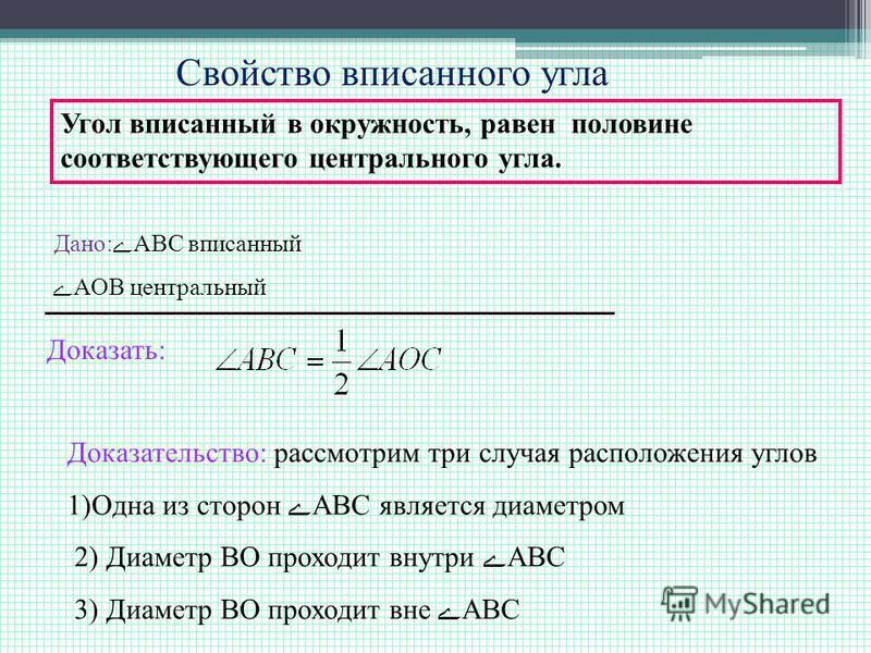 Свойство вписанного угла Угол вписанный в окружность, равен половине соответствующего центрального угла. Дано:АВС вписанный АОВ центральный Доказать: Доказательство: рассмотрим три случая расположения углов 1)Одна из сторон АВС является диаметром 2)