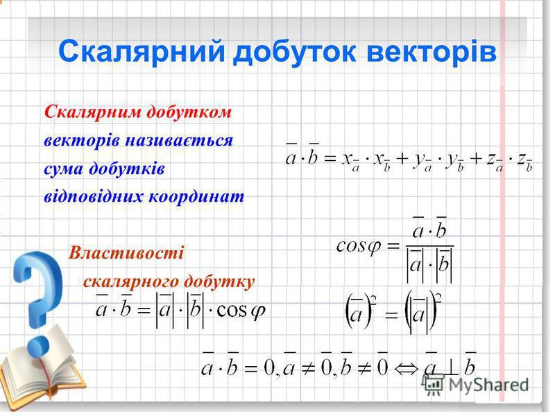 Скалярний добуток векторів Скалярним добутком векторів називається сума добутків відповідних координат Властивості скалярного добутку