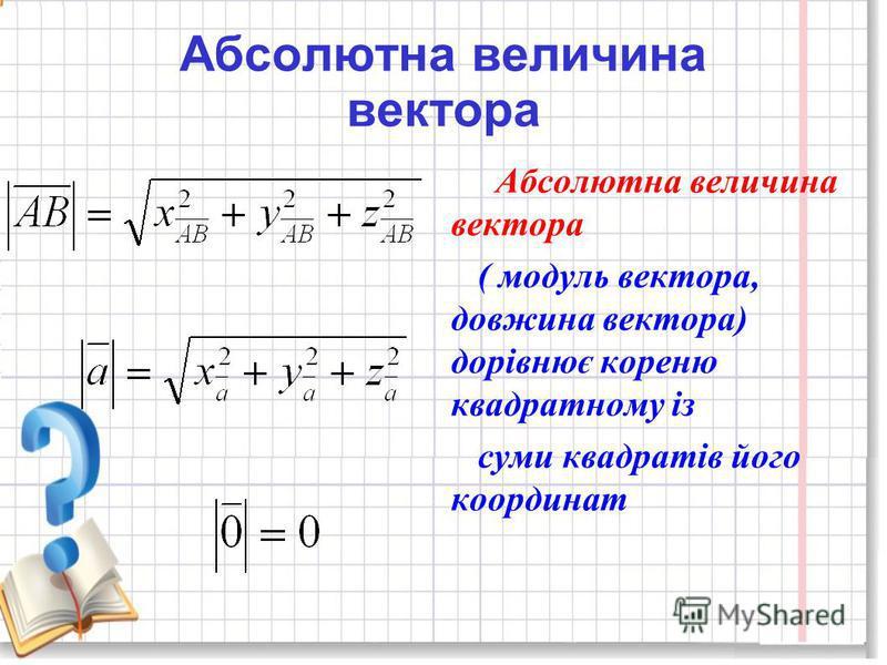 Абсолютна величина вектора ( модуль вектора, довжина вектора) дорівнює кореню квадратному із суми квадратів його координат