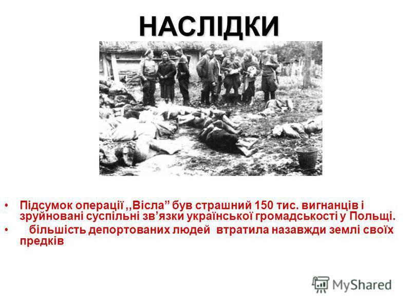 НАСЛІДКИ Підсумок операції,,Вісла був страшний 150 тис. вигнанців і зруйновані суспільні звязки української громадськості у Польщі. більшість депортованих людей втратила назавжди землі своїх предків