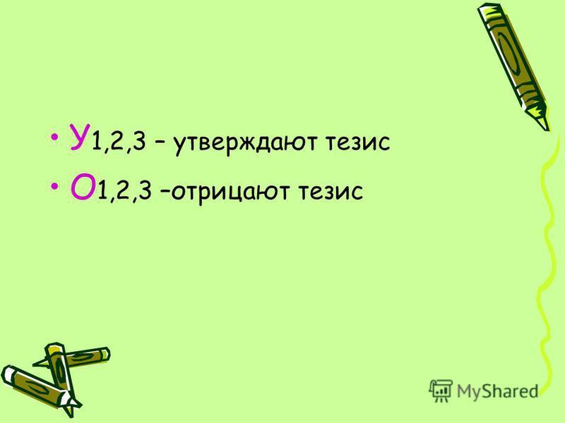 У 1,2,3 – утверждают тезис О 1,2,3 –отрицают тезис