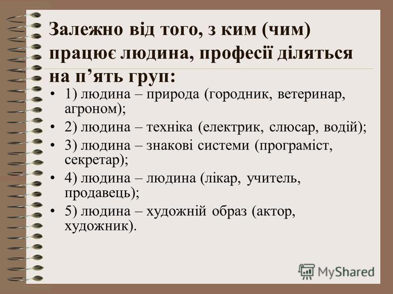 Залежно від того, з ким (чим) працює людина, професії діляться на пять груп: 1) людина – природа (городник, ветеринар, агроном); 2) людина – техніка (електрик, слюсар, водій); 3) людина – знакові системи (програміст, секретар); 4) людина – людина (лі
