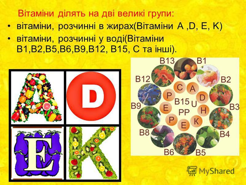Вітаміни ділять на дві великі групи: вітаміни, розчинні в жирах(Вітаміни А,D, Е, K) вітаміни, розчинні у воді(Вітаміни В1,В2,В5,В6,В9,В12, В15, С та інші).