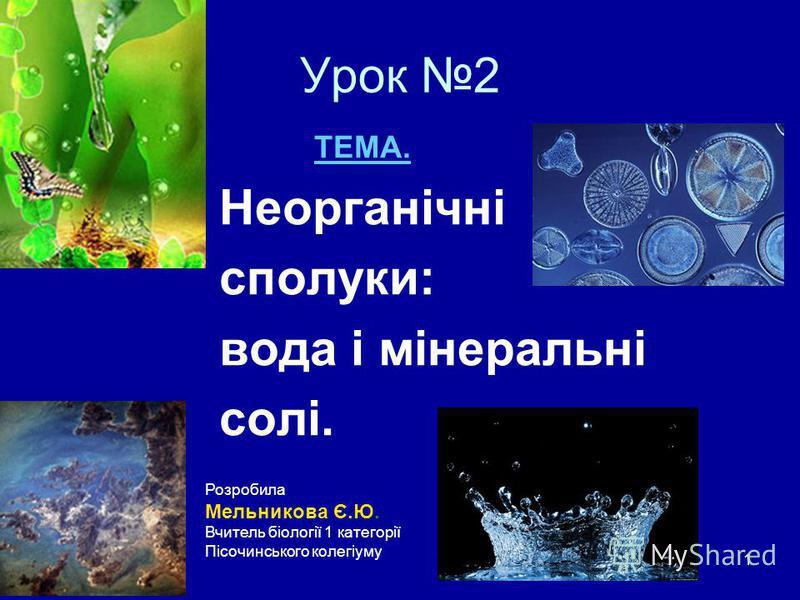 1 Урок 2 ТЕМА. Неорганічні сполуки: вода і мінеральні солі. Розробила Мельникова Є.Ю. Вчитель біології 1 категорії Пісочинського колегіуму