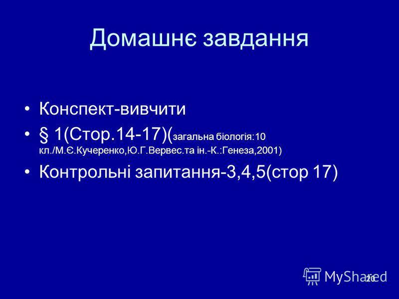 20 Домашнє завдання Конспект-вивчити § 1(Стор.14-17)( загальна біологія:10 кл./М.Є.Кучеренко,Ю.Г.Вервес.та ін.-К.:Генеза,2001) Контрольні запитання-3,4,5(стор 17)