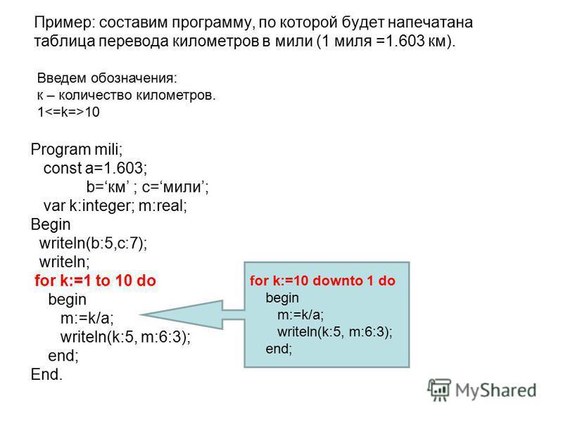 Пример: составим программу, по которой будет напечатана таблица перевода километров в мили (1 миля =1.603 км). Program mili; const a=1.603; b=км ; с=мили; var k:integer; m:real; Begin writeln(b:5,c:7); writeln; for k:=1 to 10 do begin m:=k/a; writeln