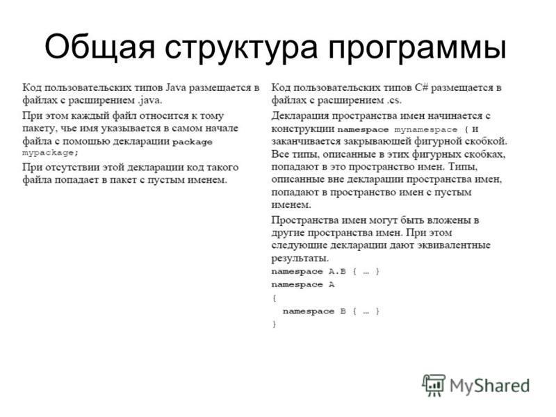 Общая структура программы