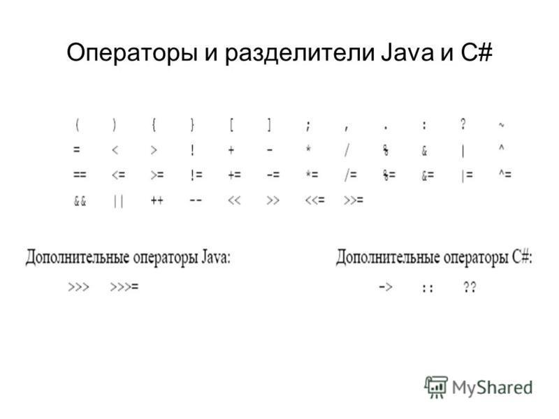 Операторы и разделители Java и С#