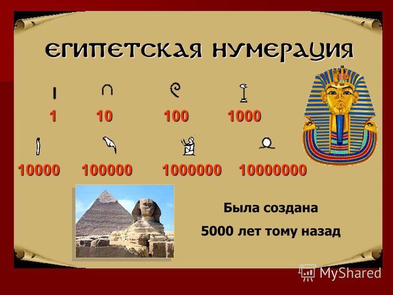 Египетская нумерация 1 10 100 1000 10000 100000 1000000 10000000 Была создана 5000 лет тому назад