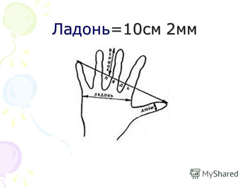 Ладонь=10 см 2 мм