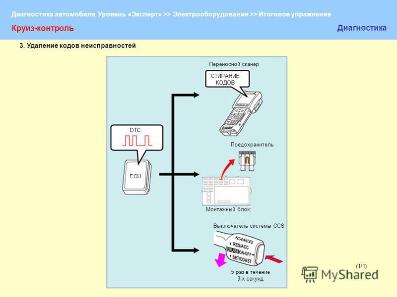 Диагностика автомобиля. Уровень «Эксперт» >> Электрооборудование >> Итоговое упражнение (1/1) Круиз-контроль Диагностика Переносной сканер СТИРАНИЕ КОДОВ DTC ECU Предохранитель Монтажный блок: Выключатель системы CCS 5 раз в течение 3-х секунд 3. Уда
