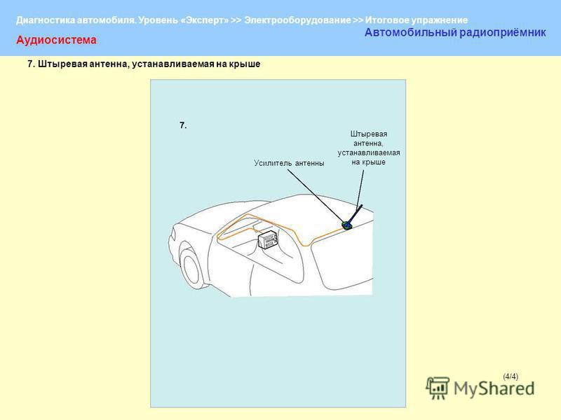 Диагностика автомобиля. Уровень «Эксперт» >> Электрооборудование >> Итоговое упражнение (4/4)(4/4) Аудиосистема Автомобильный радиоприёмник Усилитель антенны Штыревая антенна, устанавливаемая на крыше 7. Штыревая антенна, устанавливаемая на крыше