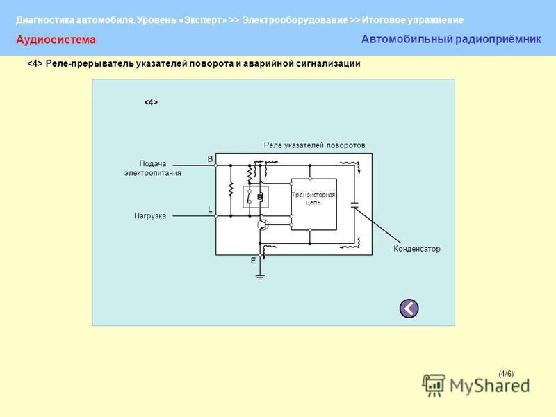 Диагностика автомобиля. Уровень «Эксперт» >> Электрооборудование >> Итоговое упражнение (4/6)(4/6) Аудиосистема Автомобильный радиоприёмник Подача электропитания Нагрузка Реле указателей поворотов Транзисторная цепь Конденсатор Реле-прерыватель указа
