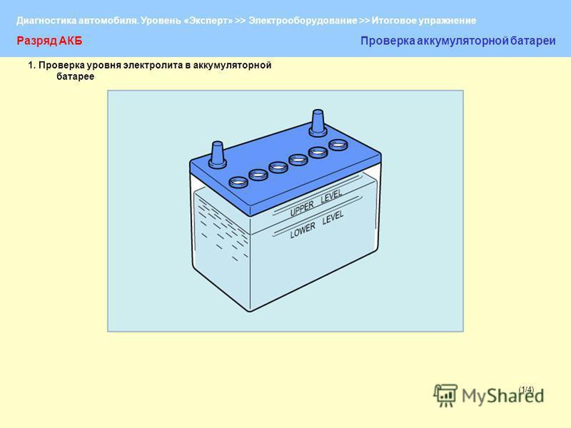 Диагностика автомобиля. Уровень «Эксперт» >> Электрооборудование >> Итоговое упражнение (1/4) Разряд АКБПроверка аккумуляторной батареи 1. Проверка уровня электролита в аккумуляторной батарее