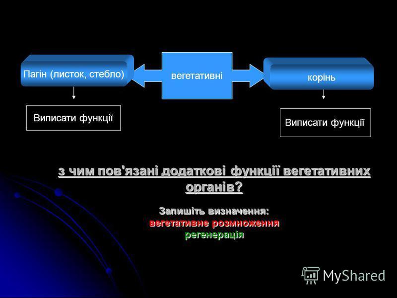 з чим пов'язані додаткові функції вегетативних органів? Запишіть визначення: вегетативне розмноження регенерація вегетативні корінь Пагін (листок, стебло) Виписати функції