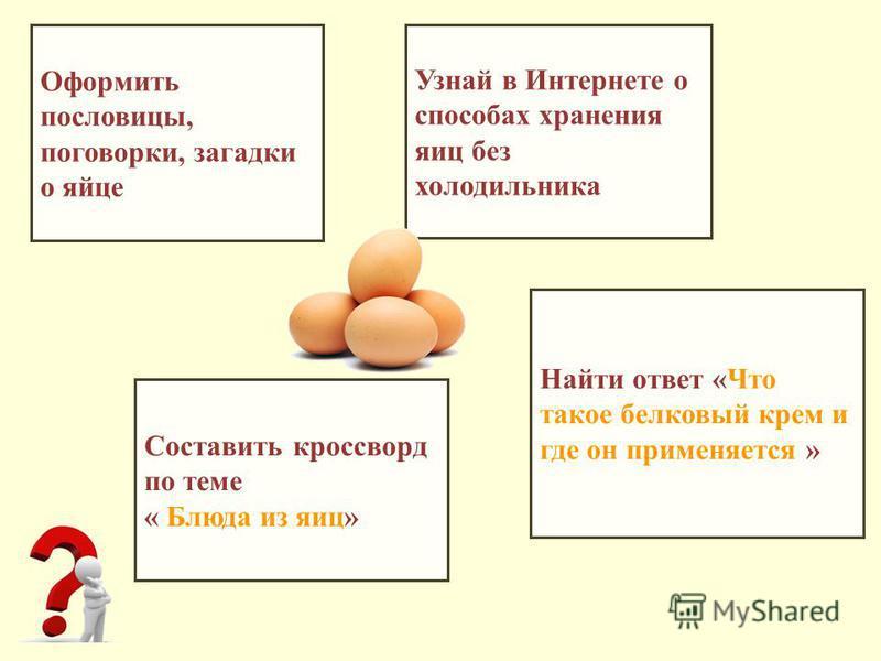 Оформить пословицы, поговорки, загадки о яйце Составить кроссворд по теме « Блюда из яиц» Узнай в Интернете о способах хранения яиц без холодильника Найти ответ «Что такое белковый крем и где он применяется »