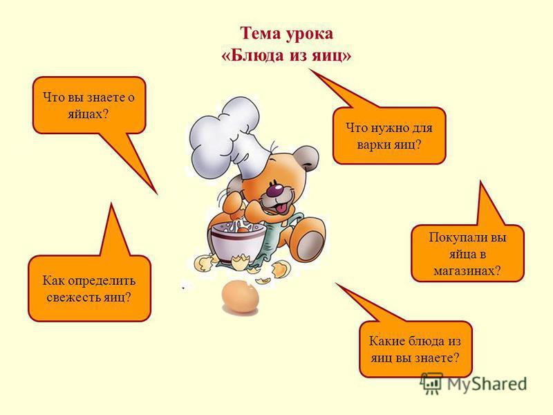 Тема урока «Блюда из яиц» Что вы знаете о яйцах? Как определить свежесть яиц? Покупали вы яйца в магазинах? Что нужно для варки яиц? Какие блюда из яиц вы знаете?