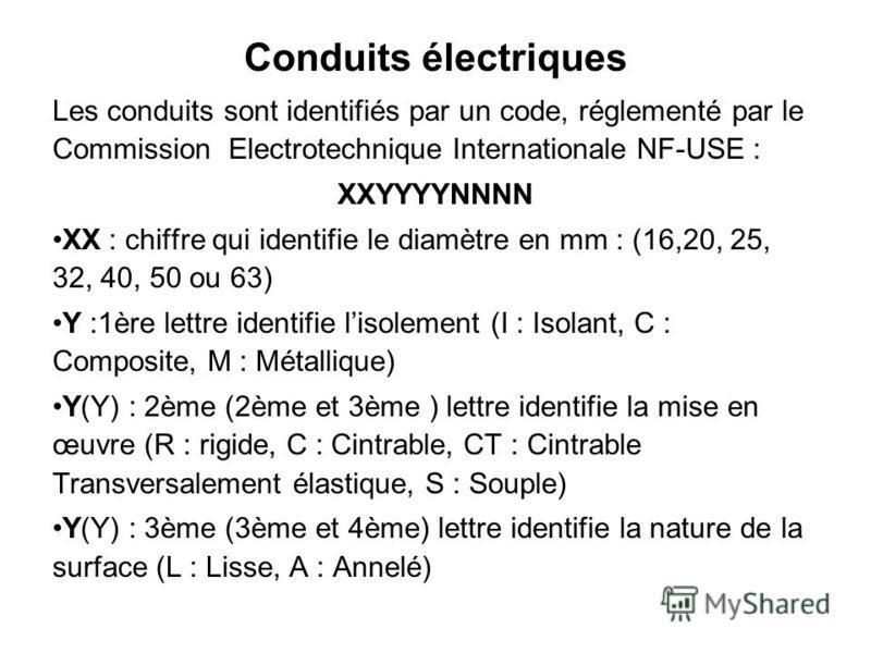 Les conduits sont identifiés par un code, réglementé par le Commission Electrotechnique Internationale NF-USE : XXYYYYNNNN XX : chiffre qui identifie le diamètre en mm : (16,20, 25, 32, 40, 50 ou 63) Y :1ère lettre identifie lisolement (I : Isolant,