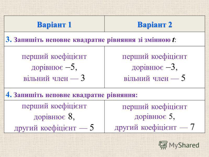 Варiант 1 Варiант 2 3. Запишiть неповне квадратне рiвняння зi змiнною t : перший коефiцiєнт дорiвнює –5, вiльний член 3 перший коефiцiєнт дорiвнює –3, вiльний член 5 4. Запишiть неповне квадратне рiвняння: перший коефiцiєнт дорiвнює 8, другий коефiцi