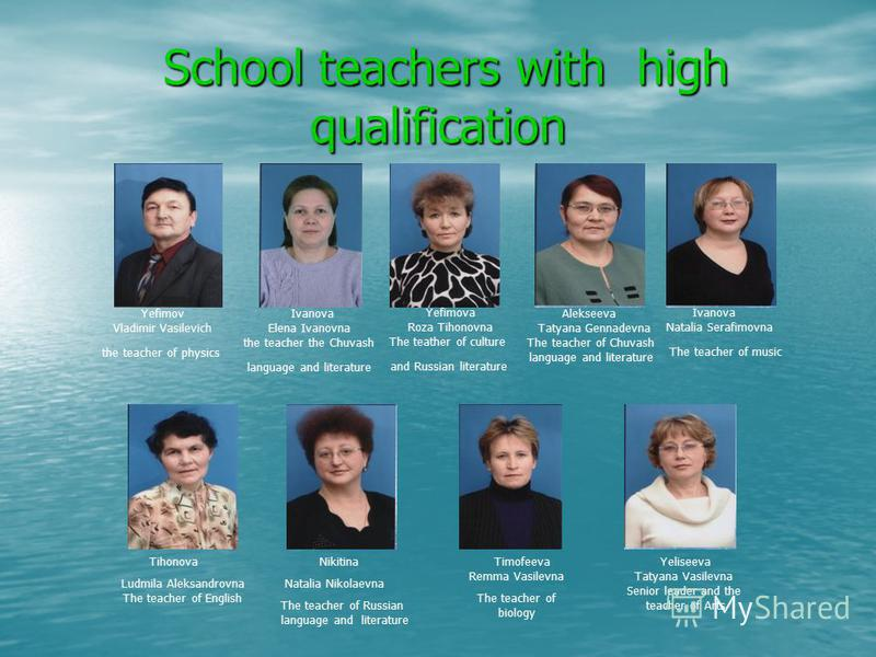 School teachers with high qualification School teachers with high qualification Yefimov Vladimir Vasilevich the teacher of physics Yefimova Roza Tihonovna The teather of culture and Russian literature Ivanova Elena Ivanovna the teacher the Chuvash la