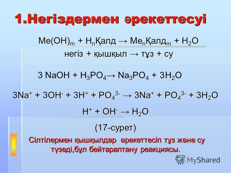 1.Негіздермен ә рекеттесуі Ме(ОН) m + Н n Қалд Me n Қалд m + H 2 O негіз + қышқыл тұз + су NaOH + H 3 PO 4 Na 3 PO 4 +3H2OH2O3 3Na + + 3OH - + 3H + + PO 4 3- 3Na + + PO 4 3- + 3H 2 O H + + OH - H 2 O (17-сурет) Сілтілермен қышқылдар әрекеттесіп тұз ж