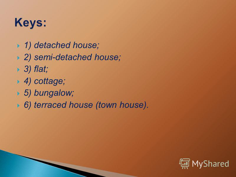 1) detached house; 2) semi-detached house; 3) flat; 4) cottage; 5) bungalow; 6) terraced house (town house).