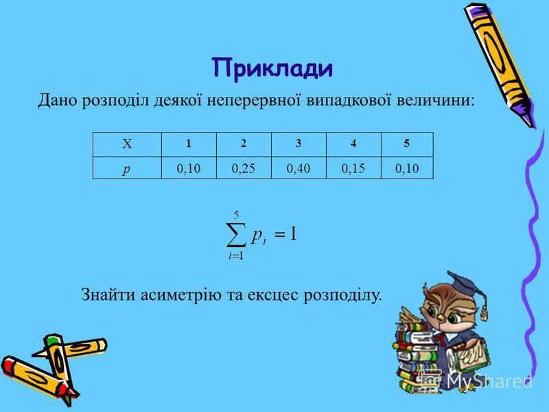 Приклади X 12345 p0,100,250,400,150,10 Дано розподіл деякої неперервної випадкової величини: Знайти асиметрію та ексцес розподілу.