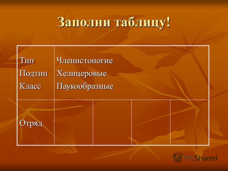 Заполни таблицу! Тип ПодтипКласс ЧленистоногиеХелицеровые Паукообразные Отряд