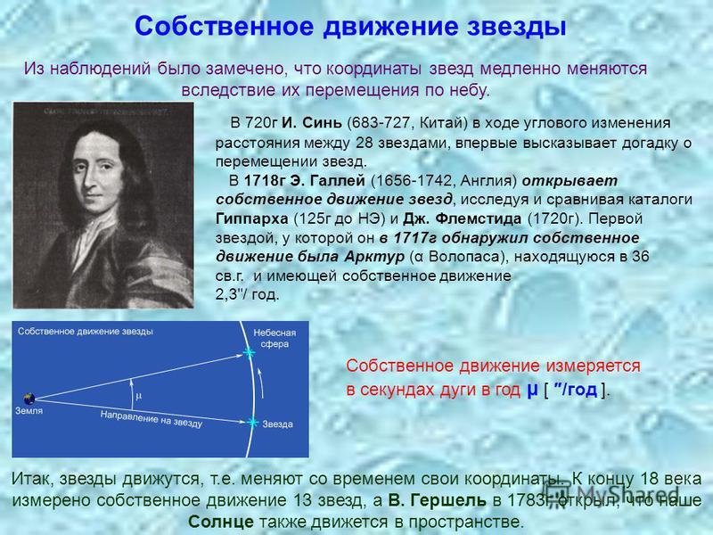 Собственное движение звезды Собственное движение измеряется в секундах дуги в год μ [ /год ]. В 720 г И. Синь (683-727, Китай) в ходе углового изменения расстояния между 28 звездами, впервые высказывает догадку о перемещении звезд. В 1718 г Э. Галлей