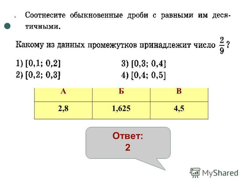 АБВ 2,81,6254,5 Ответ: 2