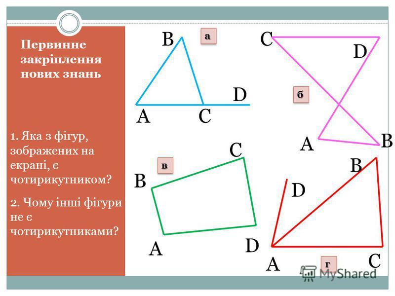 Первинне закріплення нових знань 1. Яка з фігур, зображених на екрані, є чотирикутником? 2. Чому інші фігури не є чотирикутниками? A B C D A A A B B B C C C D D D aa бб вв гг