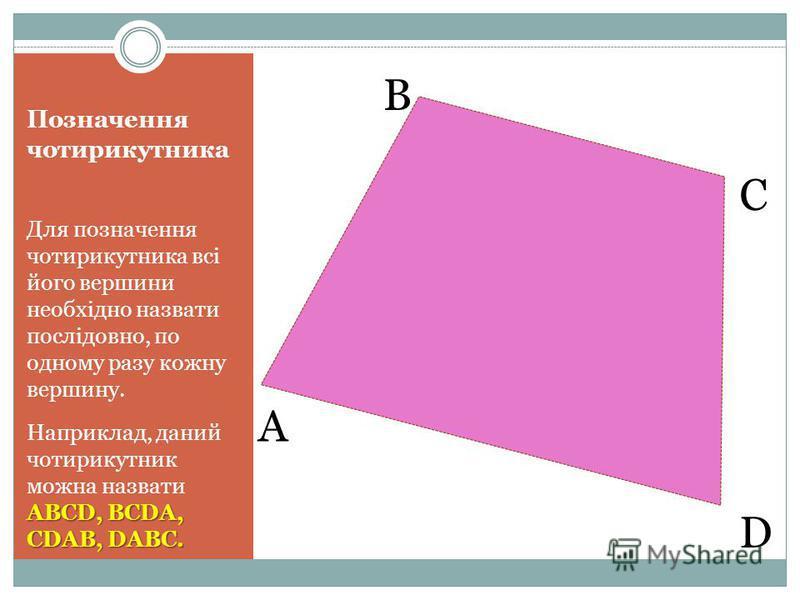 Позначення чотирикутника Для позначення чотирикутника всі його вершини необхідно назвати послідовно, по одному разу кожну вершину. ABCD, BCDA, CDAB, DABC. Наприклад, даний чотирикутник можна назвати ABCD, BCDA, CDAB, DABC. B C A D
