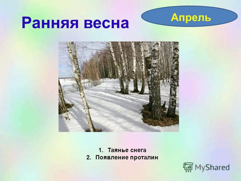 Ранняя весна Апрель 1. Таянье снега 2. Появление проталин