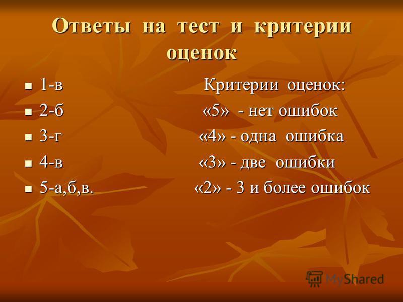 Ответы на тест и критерии оценок 1-в Критерии оценок: 1-в Критерии оценок: 2-б «5» - нет ошибок 2-б «5» - нет ошибок 3-г «4» - одна ошибка 3-г «4» - одна ошибка 4-в «3» - две ошибки 4-в «3» - две ошибки 5-а,б,в. «2» - 3 и более ошибок 5-а,б,в. «2» -