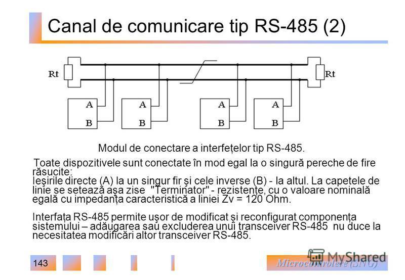 143 Canal de comunicare tip RS-485 (2) Toate dispozitivele sunt conectate în mod egal la o singură pereche de fire răsucite: Ieşirile directe (A) la un singur fir şi cele inverse (B) - la altul. La capetele de linie se setează aşa zise