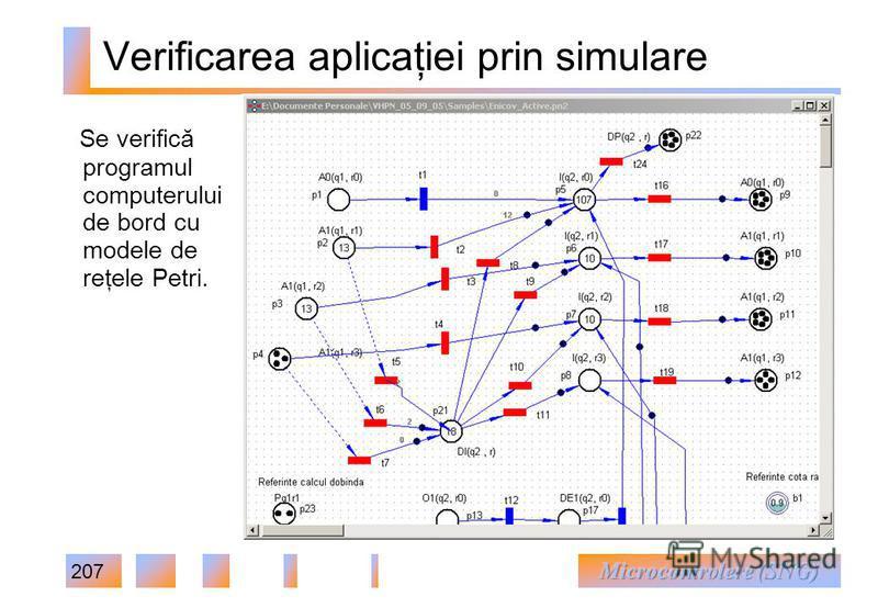 207 Verificarea aplicaţiei prin simulare Se verifică programul computerului de bord cu modele de reţele Petri.