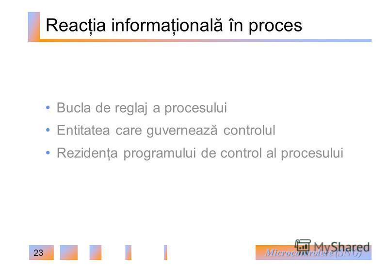 23 Reacţia informaţională în proces Bucla de reglaj a procesului Entitatea care guvernează controlul Rezidenţa programului de control al procesului