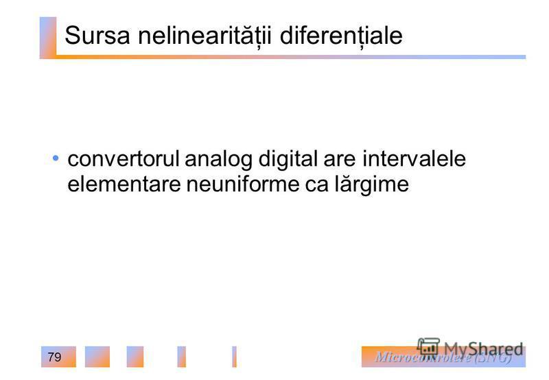 79 Sursa nelinearităţii diferenţiale convertorul analog digital are intervalele elementare neuniforme ca lărgime