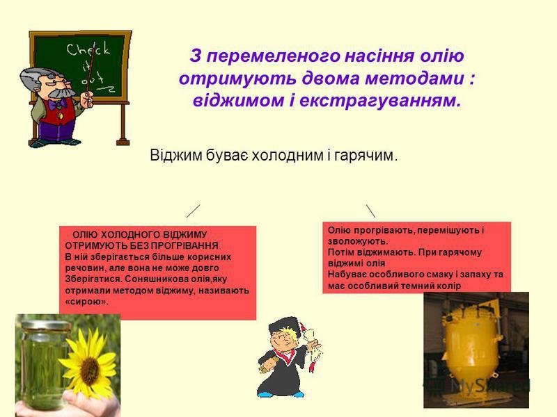 З перемеленого насіння олію отримують двома методами : віджимом і екстрагуванням. Віджим буває холодним і гарячим. ОЛІЮ ХОЛОДНОГО ВІДЖИМУ ОТРИМУЮТЬ БЕЗ ПРОГРІВАННЯ. В ній зберігається більше корисних речовин, але вона не може довго Зберігатися. Соняш