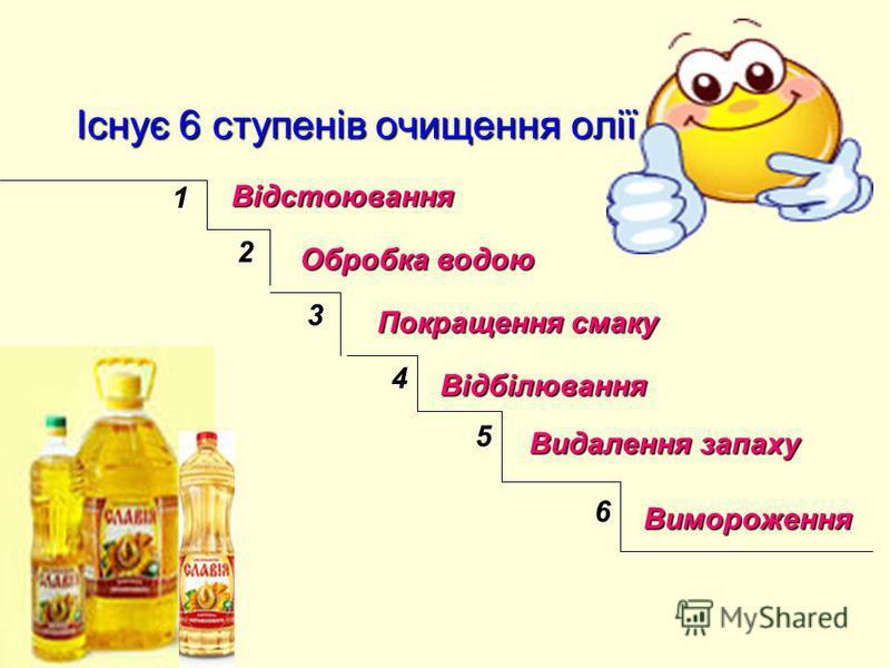 Існує 6 ступенів очищення олії 1 2 3 4 5 6 Відстоювання Обробка водою Покращення смаку Відбілювання Видалення запаху Вимороження
