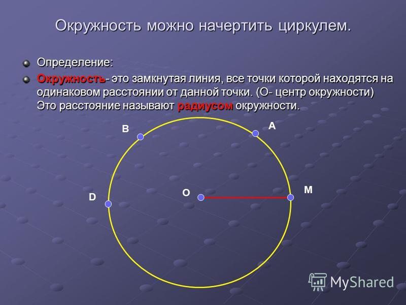 Окружность можно начертить циркулем. Определение: Окружность- это замкнутая линия, все точки которой находятся на одинаковом расстоянии от данной точки. (О- центр окружности) Это расстояние называют радиусом окружности. D B A M O