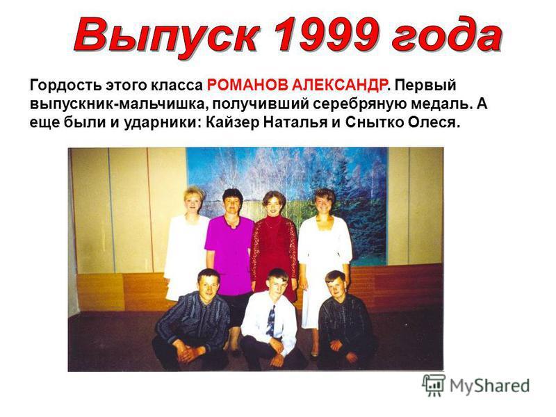 Гордость этого класса РОМАНОВ АЛЕКСАНДР. Первый выпускник-мальчишка, получивший серебряную медаль. А еще были и ударники: Кайзер Наталья и Снытко Олеся.