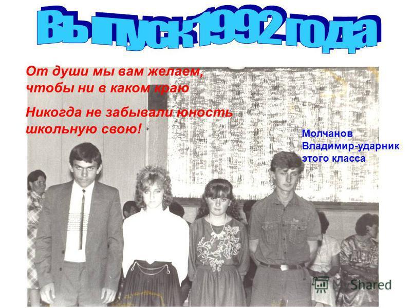 От души мы вам желаем, чтобы ни в каком краю Никогда не забывали юность школьную свою! Молчанов Владимир-ударник этого класса