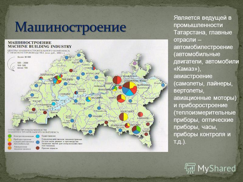 Является ведущей в промышленности Татарстана, главные отрасли – автомобилестроение (автомобильные двигатели, автомобили «Камаз»), авиастроение (самолеты, лайнеры, вертолеты, авиационные моторы) и приборостроение (теплоизмерительные приборы, оптически