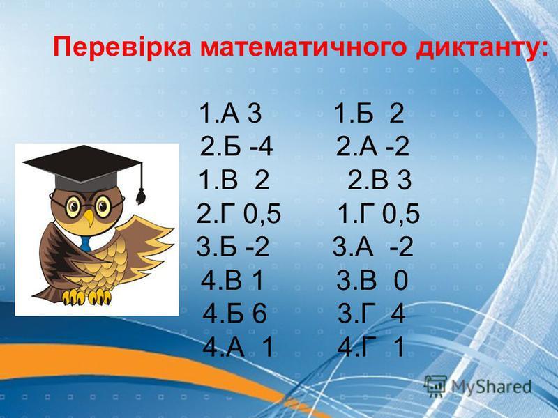 Перевірка математичного диктанту: 1.А 3 1.Б 2 2.Б -4 2.А -2 1.В 2 2.В 3 2.Г 0,5 1.Г 0,5 3.Б -2 3.А -2 4.В 1 3.В 0 4.Б 6 3.Г 4 4.А 1 4.Г 1